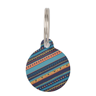 Trendy Blue, Coral & Faux Gold Glitter Stripes Pet Name Tag