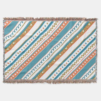 Trendy Blue, Coral & Faux Gold Glitter Stripes Throw