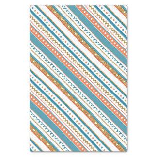 Trendy Blue, Coral & Faux Gold Glitter Stripes Tissue Paper