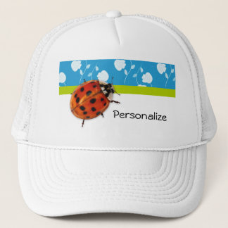 Trendy Blue Floral Ladybug With Name Trucker Hat