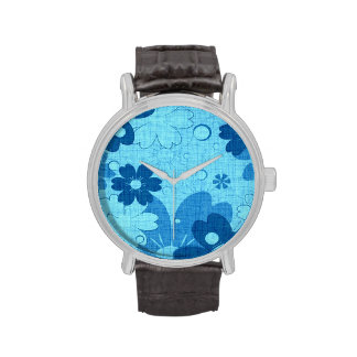 Trendy Blue Floral Vintage Wristwatch
