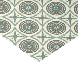Trendy Blue Geometric Floral Medallion and Square Tissue Paper