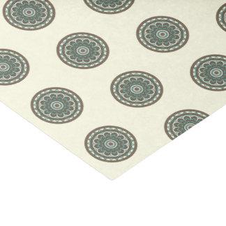 Trendy Blue Geometric Floral Medallion Tissue Paper