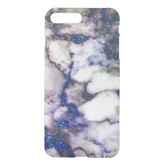 Trendy Blue Glitter Grey And Pink Marble iPhone 7 Plus Case