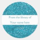 Trendy Blue Glitter Personalized Bookplates Classic Round Sticker
