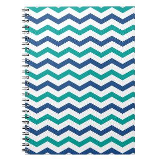 Trendy Blue Green Chevron Stripes Note Books