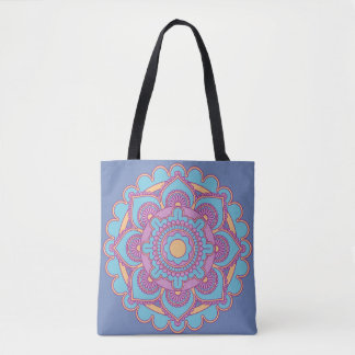 Trendy Blue Mandala Tote Bag
