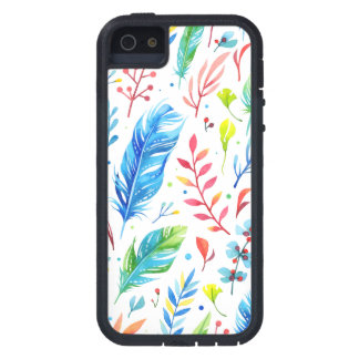 Trendy Blue-Orange Floral Boho Feather Pattern iPhone 5 Cover