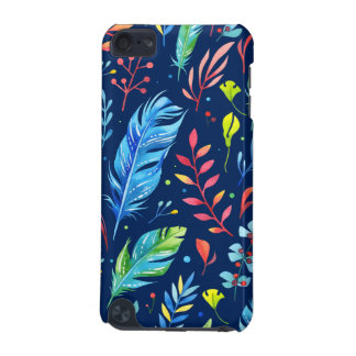 Trendy Blue-Orange Floral Boho Feather Pattern iPod Touch (5th Generation) Case