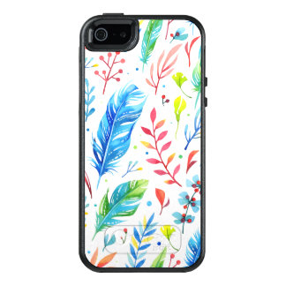 Trendy Blue-Orange Floral Boho Feather Pattern OtterBox iPhone 5/5s/SE Case