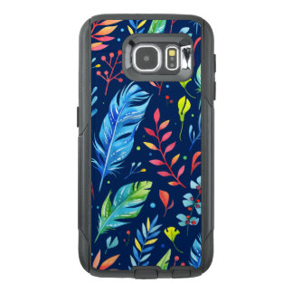 Trendy Blue-Orange Floral Boho Feather Pattern OtterBox Samsung Galaxy S6 Case