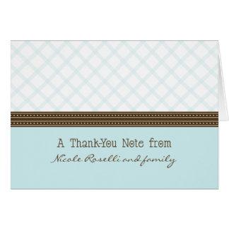 Trendy Blue Plaid Photo (inside) Thank You Card