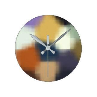 Trendy Blue Purple Orange Beige Stylish Pattern Round Clock
