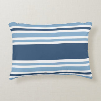 Trendy Blue Striped Accent Pillow