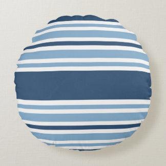 Trendy Blue Striped Round Pillow