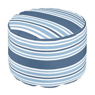 Trendy Blue Striped Round Pouf