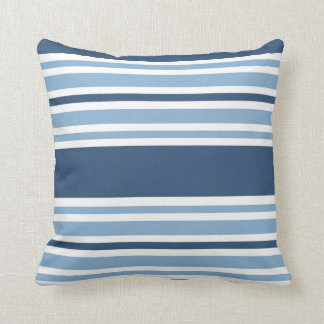 Trendy Blue Striped Throw Pillow