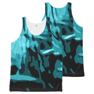 Trendy Blue Teal Aqua Camo Abstract Pattern All-Over-Print Tank Top