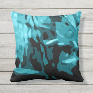 Trendy Blue Teal Aqua Camo Abstract Pattern Outdoor Pillow