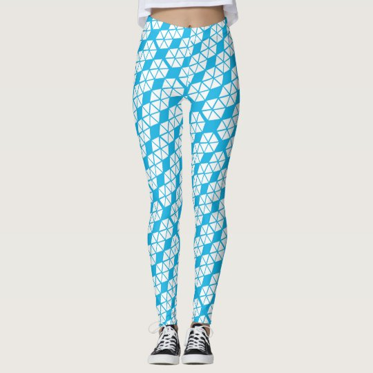 Trendy Blue White Pattern Leggings