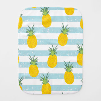 Trendy Blue White Stripes Pineapple Pattern Burp Cloth