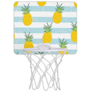 Trendy Blue White Stripes Pineapple Pattern Mini Basketball Hoop