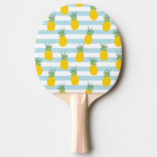 Trendy Blue White Stripes Pineapple Pattern Ping Pong Paddle