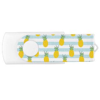 Trendy Blue White Stripes Pineapple Pattern USB Flash Drive