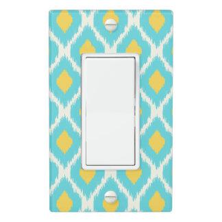 Trendy Blue Yellow Aztec Ikat Tribal Pattern Light Switch Cover