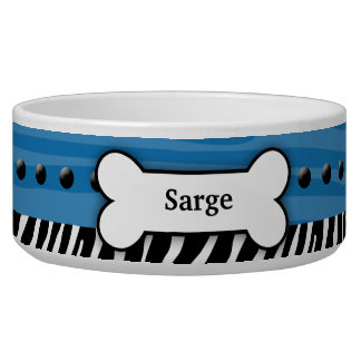 Trendy Blue Zebra Stripe Custom Pet Dog Food Bowl