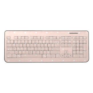 Trendy Blush Pink Polka Dots Wireless Keyboard