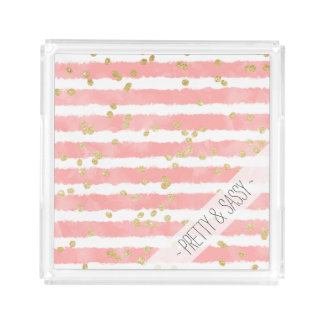 Trendy blush pink watercolor stripes gold confetti acrylic tray