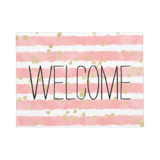 Trendy blush pink watercolor stripes gold confetti doormat