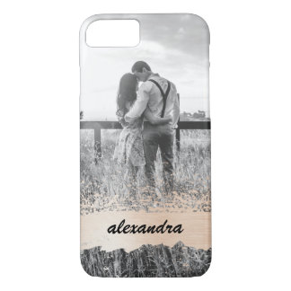 Trendy Blush Splash with your Name and Photo iPhone 8/7 Case