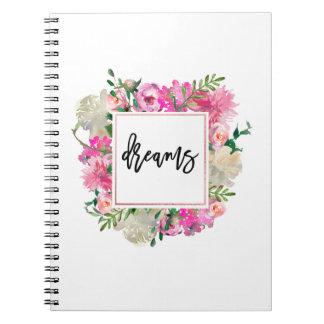 Trendy Bohemian Floral Dreams Notebook