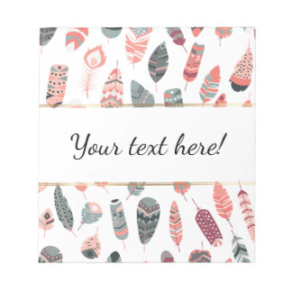 Trendy Bohemian Style Feathers Pattern Notepads