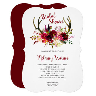 Trendy Boho Burgundy Floral Bridal Shower invite