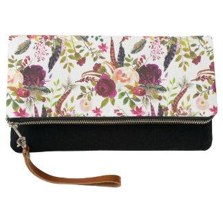 Trendy Boho Burgundy Marsala floral pattern Clutch