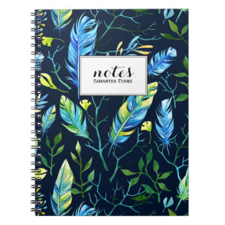Trendy Boho Feather Nature Pattern Spiral Note Books
