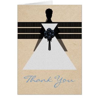 Trendy Bride Bridal Shower Thank You Card, Blue Greeting Card