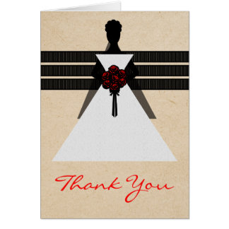 Trendy Bride Bridal Shower Thank You Card, Red Card