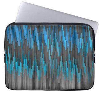 Trendy Bright Blue Black  ZigZag Chevron Pattern Laptop Sleeve