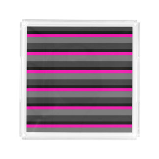 trendy bright neon pink black and grey striped acrylic tray