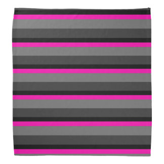 trendy bright neon pink black and grey striped bandana