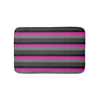 trendy bright neon pink black and grey striped bath mat