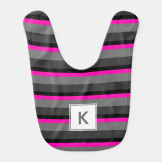 trendy bright neon pink black and grey striped bib