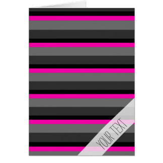 trendy bright neon pink black and grey striped card