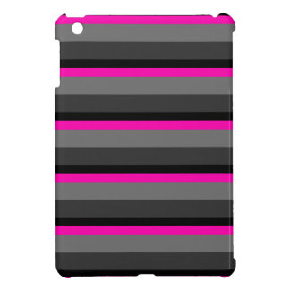 trendy bright neon pink black and grey striped case for the iPad mini