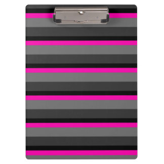 trendy bright neon pink black and grey striped clipboard