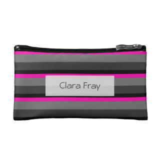 trendy bright neon pink black and grey striped cosmetic bag